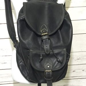 Vintage All Black Leather Bucket Backpack